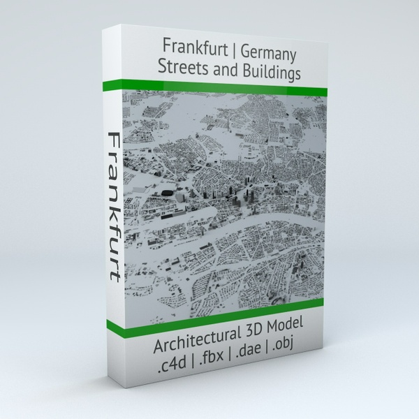 Frankfurt Streets and Buildings Architectural 3D Model