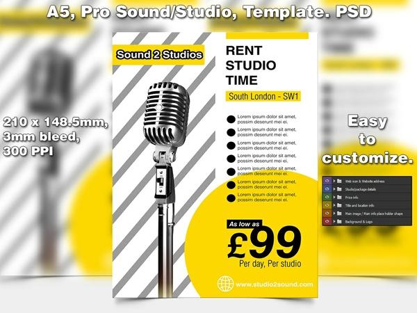 Sound Studio Flter Template (A5 PSD)
