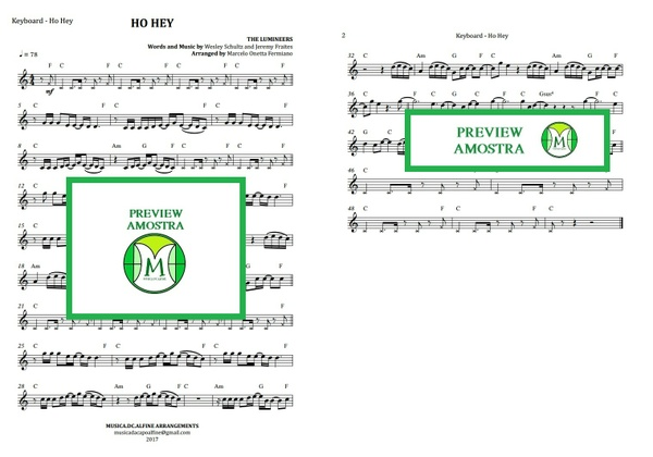 Ho Hey | The Lumineers | Keyboard or Violin | Sheet Music Download