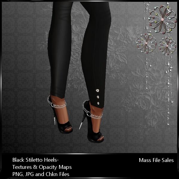 IMVU Textures Black Stiletto Heels