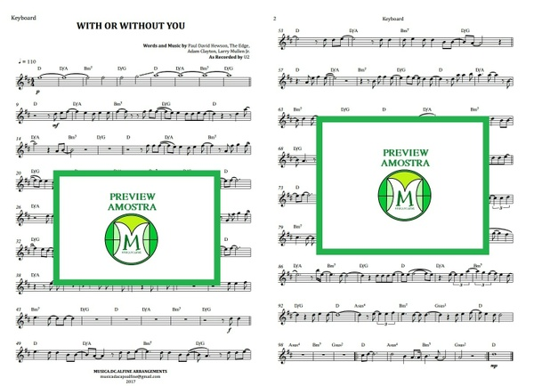 With or Withour You | U2 | Keyboard or Violin | Sheet Music