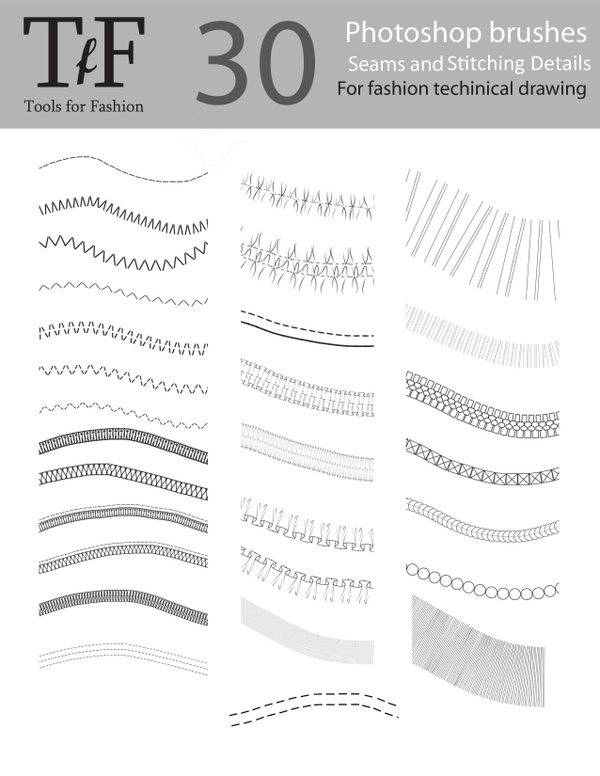30 Seams & Stitches Brushes for Photoshop