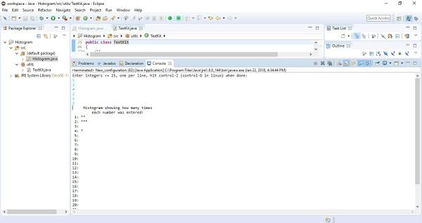 COP 2800 (Java Programming) Project #5 - Histogram Solution