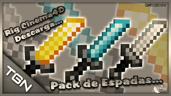 Pack Rig Espadas Minecraft Cinema4D Descarga