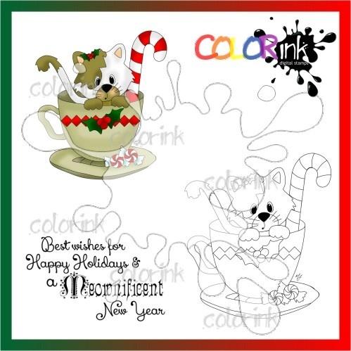 kittie christmas tee and  sentiment Digi stamp