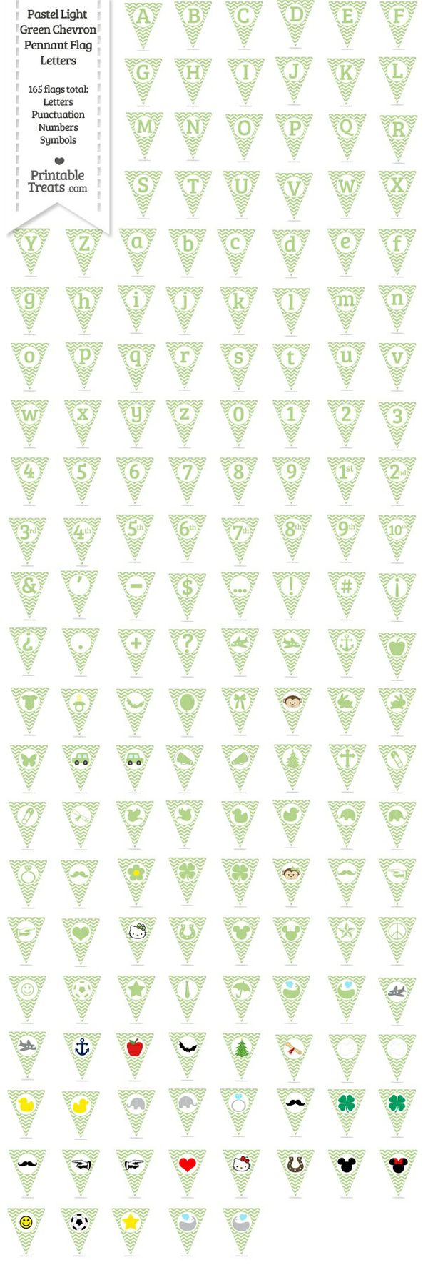 165 Pastel Light Green Chevron Pennant Flag Letters Password