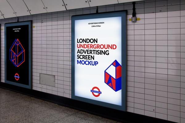 Free London Underground Advertising Screen Mockup