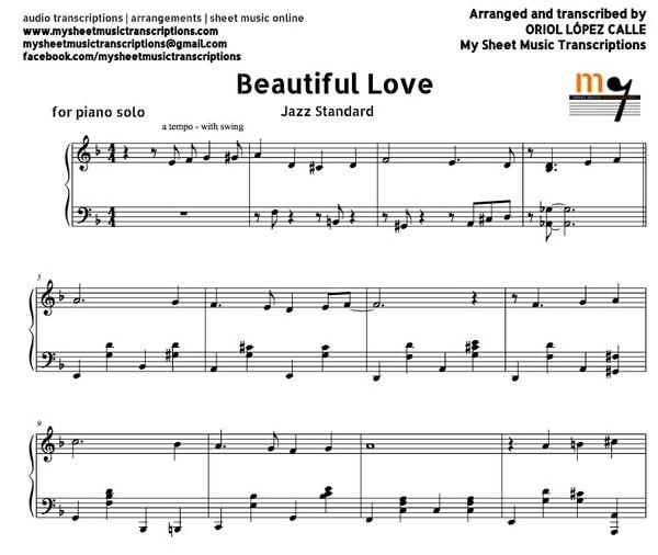 Beautiful Love (Jazz Standard) Sheet music (.pdf)