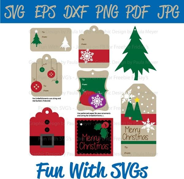 Christmas Gift Tags SVG, SVG Files, Santa, Holly, Ornament, Christmas Tree, Christmas, Ornaments