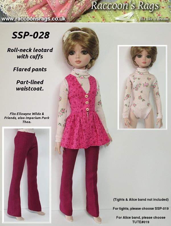SSP-028: Leotard, flared pants & part-lined frock waistcoat for Ellowyne Wilde & friends.