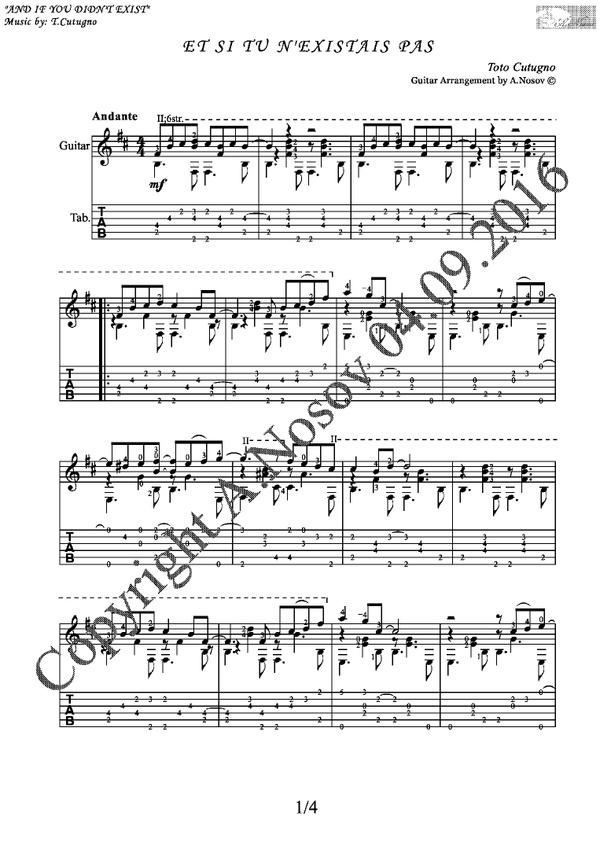 Et Si Tu N'existais Pas (T.Cutugno) Sheet music for guitar