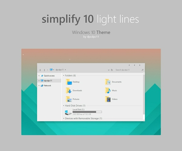 Simplify 10 Light Lines - Windows 10 Theme