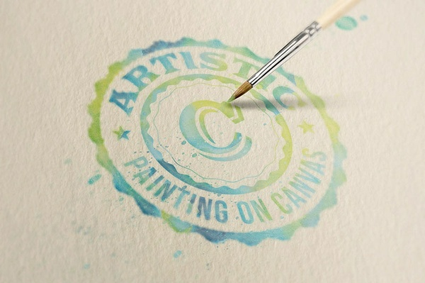 Logo/Text Mock-up – Watercolor Painting