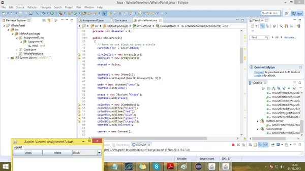 Wholepanel.java, circle.java, assignment7