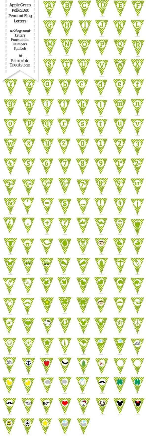 165 Apple Green Polka Dot Pennant Flag Letters Password
