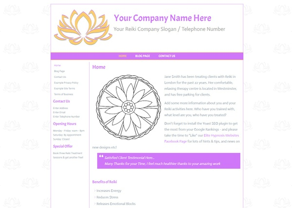Reiki Wordpress Website Design - Theme, Chakra, Complementary Therapy,