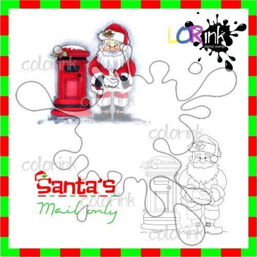 Santa's Post and sentiment Digi stamp