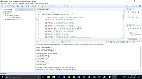 A1 Solved Java application that inputs three integers