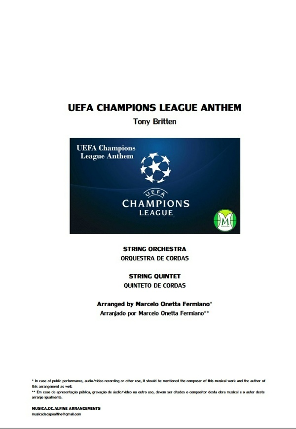 UEFA Champions League Anthem - String Orchestra/String Quintet - Score and parts