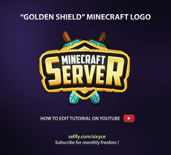 Golden Shield Minecraft PSD Logo