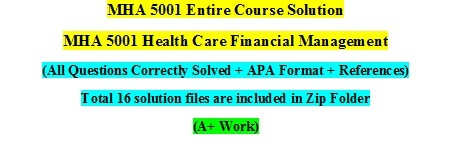 MHA 5001 Unit I to Unit VIII Assessment, Homework & Discussion Board Question Solution