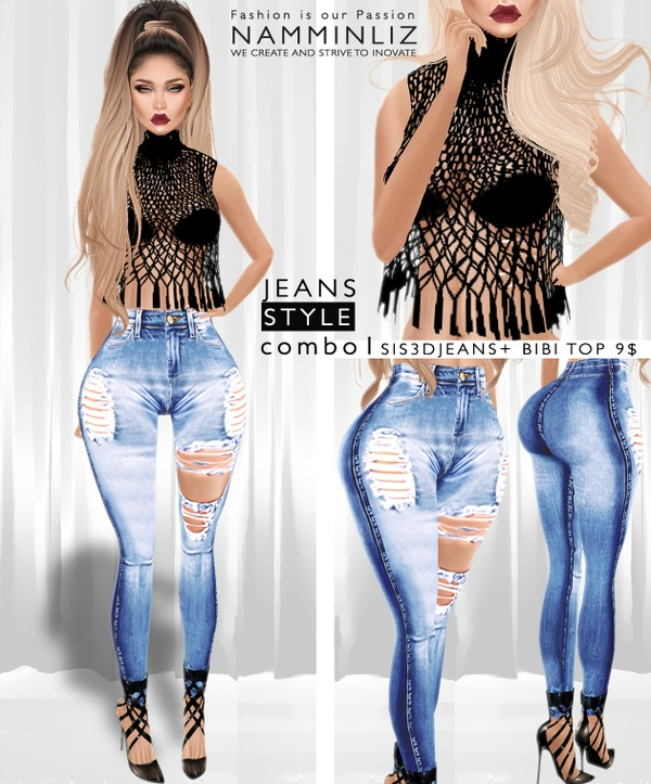 JEANS STYLE Combo1  •Sis3d Jeans + Bibi Top