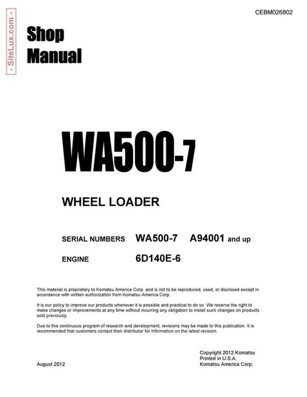 Komatsu WA500-7 Wheel Loader Shop Manual - CEBM026802