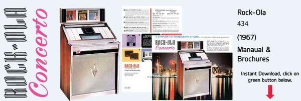 """Rock-Ola 434 """"Concerto""""  (1967)   Manual & Brochure"""