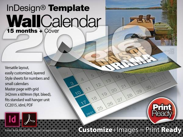 2016 Wall Calendar - 15 Months + Cover