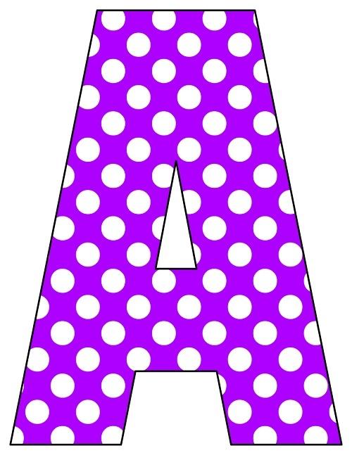 8X10.5  Inch Purple Dot Printable Letters A-Z, 0-9