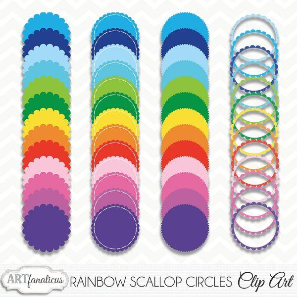 RAINBOW SCALLOP CIRCLES CLIPART