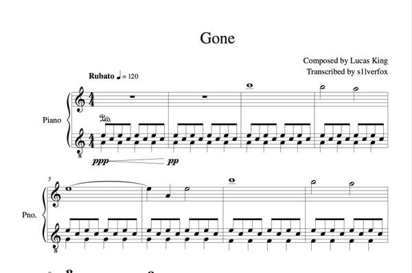 Lucas King - Gone   Sheet Music