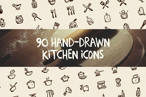 90 Hand-Drawn Kitchen Icons