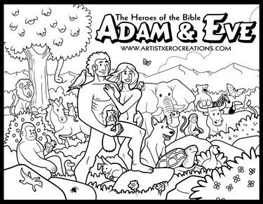 The Heroes Of Bible Coloring Pages Adam U0026 Eve