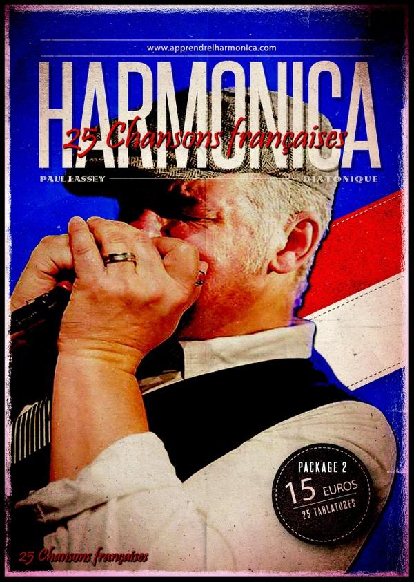 Recueil de 25 tablatures de chansons françaises - Harmonica diatonique - Package 02