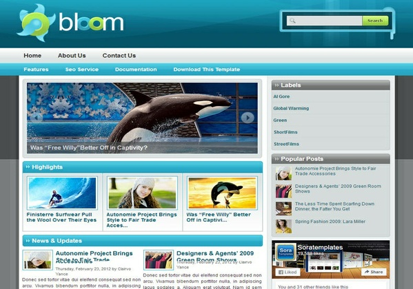 Bloom Blogger Template Premium Version