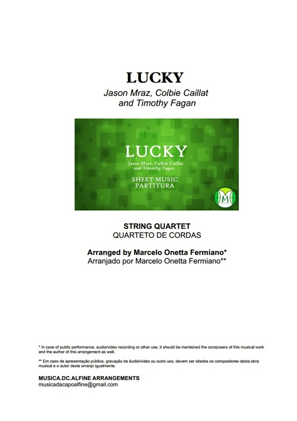 Lucky - Jason Mraz and C. Caillat - String Quartet - Score and parts - Sheet Musc