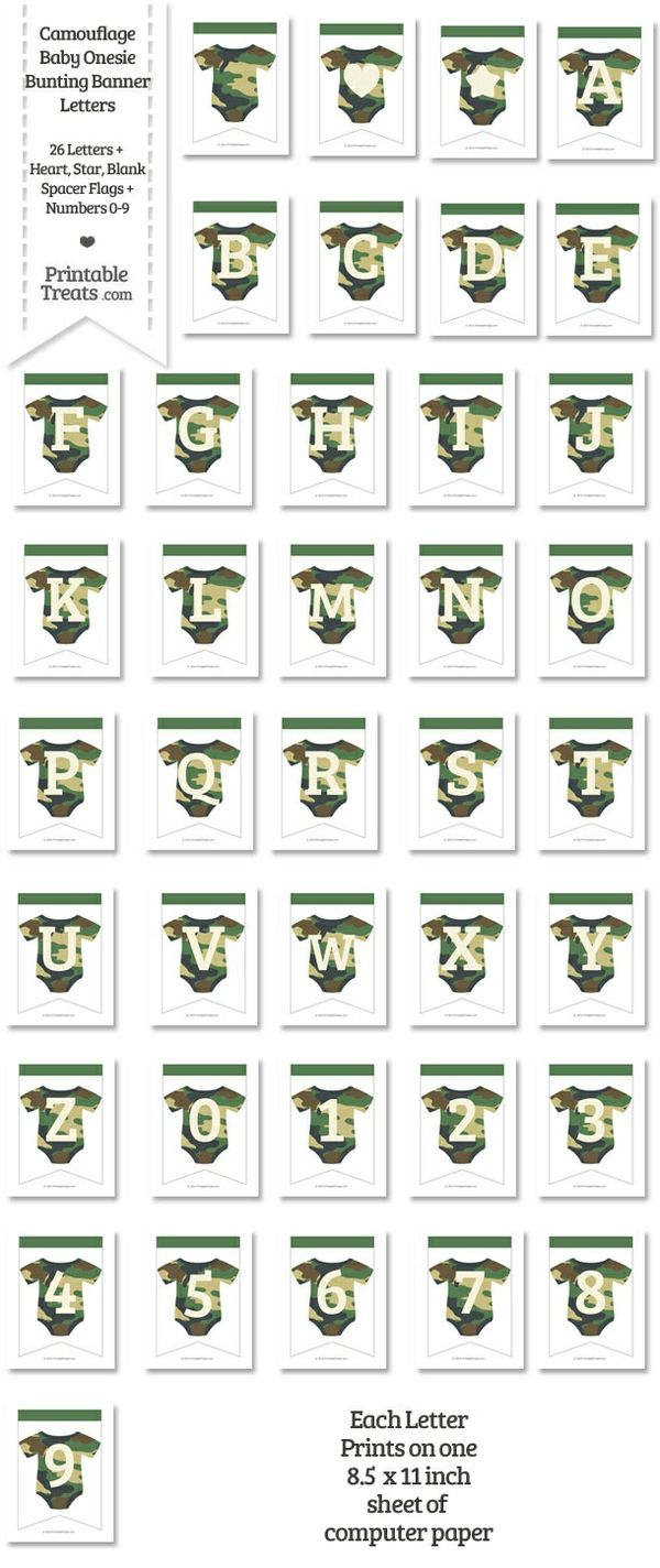 Camouflage Baby Onesie Bunting Banner Letters Download