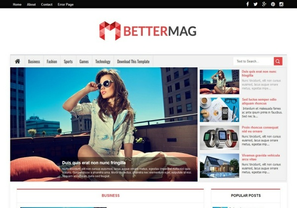 Better Mag Blogger Template Premium Version