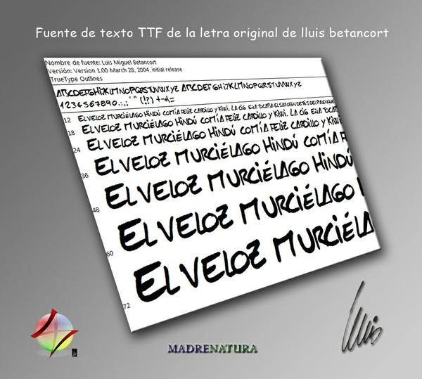 Fuente de Texto TTF de la letra de lluis betancort original genuine