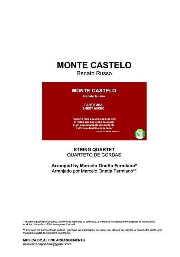 Monte Castelo - Legião Urbana - Quarteto de Cordas - Partitura