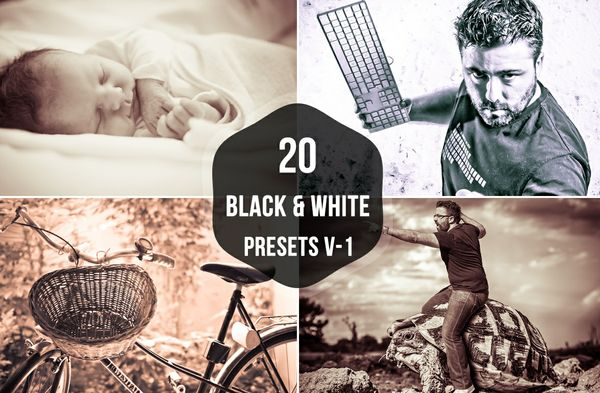 20 BLACK AND WHITE LIGHTROOM PRESETS V-1