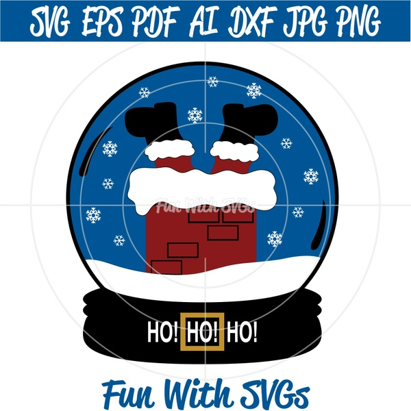 Snow Globe Santa SVG File, SVG Files, Winter, Santa SVG, Christmas SVG