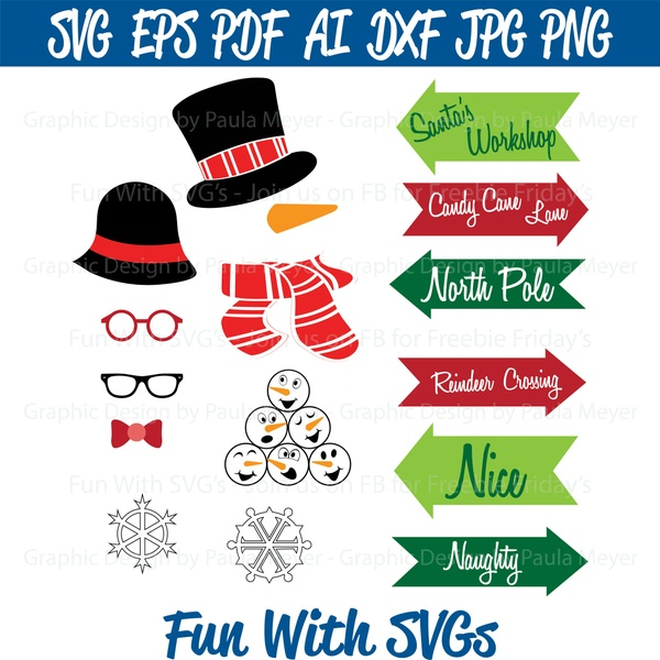 Snowman Photo Booth Props - SVG Cut File, High Res. Printable Graphics and Editable Vector Art
