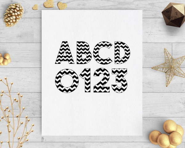 chevron svg numbers and letters silhouette cricut downloads