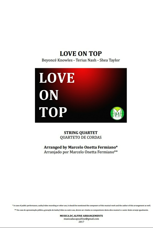 Love On Top - Beyoncé - Quarteto de Cordas - Partitura - Grade e Partes