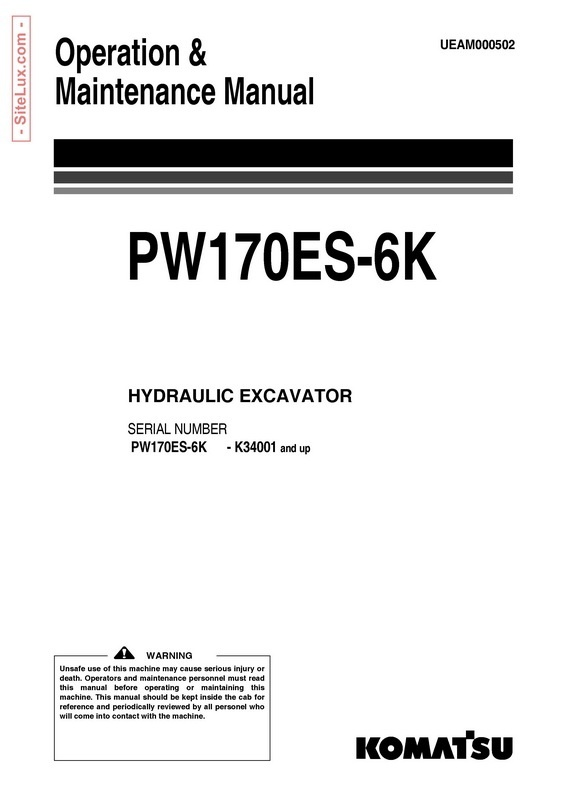 Komatsu PW170ES-6K Hydraulic Excavator (K34001 and up) Operation & Maintenance Manual - UEAM000502