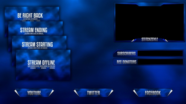 Blue Textured Twitch Stream Rebrand Template (Overlay, Offline Screen, HUD and Panels)