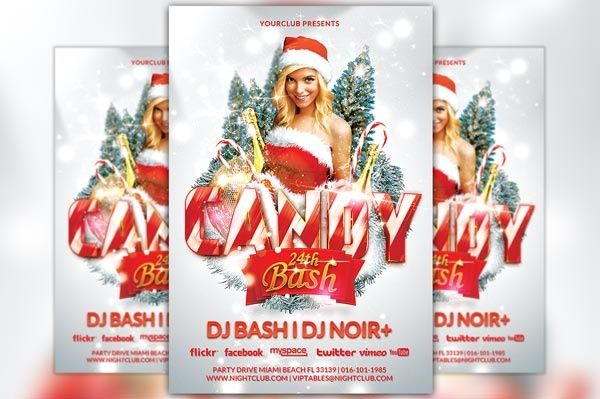 Candy Christmas Bash Party Flyer Template