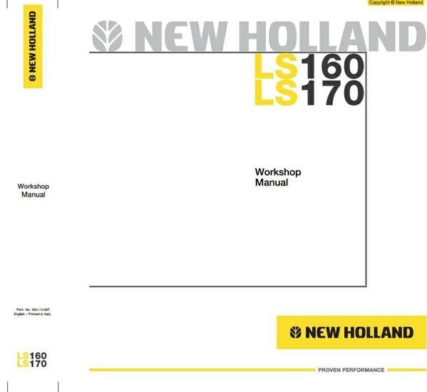 New Holland Skid Steer Loader LS160, LS170 Workshop Service Manual